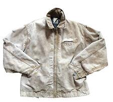 Vintage Carhartt Wool Flannel Lined Coat Jacket Corduroy Collar Tan Distressed