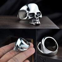 925 Sterling Silver Solid Heavy Skull Ring Mens Open Adjustable Ring 19g