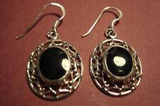 Genuine Indian 925 Silver & Gemstone Cabochon  Earrings~Black Onyx~S24~uk seller