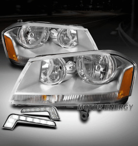 FOR 08-14 DODGE AVENGER REPLACEMENT CHROME HEADLIGHTS HEADLAMPS W/BUMPER DRL LED