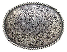 WESTERN COWBOY COWGIRL OVAL ROPE SILVER PLATED RODEO TROPHY BELT BUCKLE