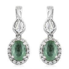 Green Kyanite, Topaz, Cambodian Zircon Platinum/Sterling Silver Dangle Earrings