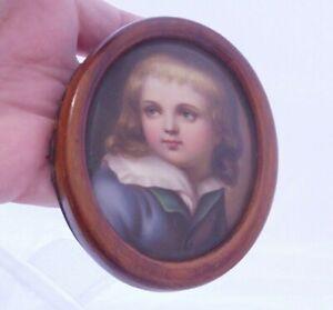 Fine Victorian hand painted portrait miniature, framed