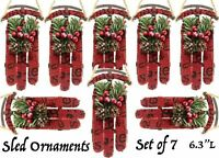 7 Sled Sleigh Christmas Tree Ornaments Holiday Country Decoration Set Lot Vtg