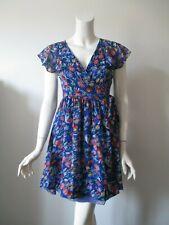 Anthropologie Moulinette Soeurs Blue Blooming Sapphire Wrap Silk Dress 4