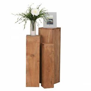 WOHNLING Beistelltisch 3er Set WL1.567 Massivholz 24,5x85x24,5 cm Dekosäulen