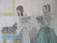 Antique Framed Silk Work Needlework Embroidery 2 Woman w/Flowers Picture