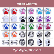 30pcs Pet Silver Spacer Dog Cat Paw  Beads Fit European Charm Bracelet Chain New