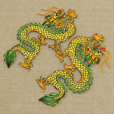 Mirror Pair Dragon Embroidery Iron on Patches Sticker Applique Lace Motif Patch