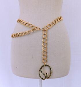 St. John Double Link Coil Chain Link Belt - Large SJ Logo Accent Adjustable Size