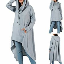 NWT 2XL Gray Pullover Collar Hoodie Long Sweatshirt Cloak Tunic Hi Lo Cowl Neck