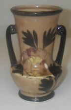 """Vintage VASE Ceramic Japan Double Handle Marked 'A' in circle Brown glossy 5"""" h"""