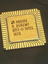 AMD R80186 X FLAT PACK GOLD CERAMIC CHIP COLLECTABLE VINTAGE PROCESSOR  fba10a54