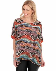 Klass Women's Printed Short Sleeve Top with Oversized Layer