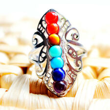 Beutiful Huge 7 Stone Natural Rainbow Color Fire Agate Silver Adjustable Rings