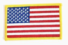 IRON-ON USA US United States AMERICAN FLAG EMBROIDERED PATCH GOLD BORDER