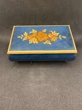Vintage Edelweiss Swiss Musical Movement Music Box Blue Floral Wood