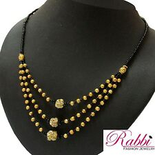 Rabbi Gold Plated Beaded Jaya Short Janvhi Mangalsutra