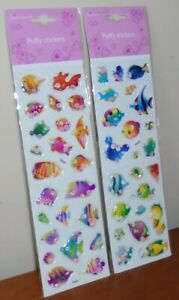 """2x Sheets """"Think Pink"""" Kids 3D Puffy Re-Usable Stickers Sea Life Fish UK SELLER"""
