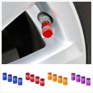 4x Universal Car Anodized Round Tire Valve Stem Cap Cover Aluminum Accessories