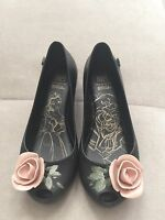 Girl Mel Melissa Rubber Flats Shoes Size 12 Black With Rose Princess