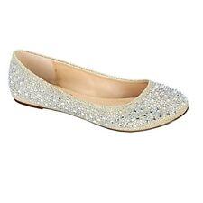 De Blossom Collection Baba-1 Nude Sparkle Slip On Ballet Flat Shoe Size 6