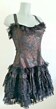 PHAZE STEAMPUNK GOTHIC BLACK LACE BROCADE DRESS 14