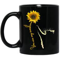 VANLENTINE GIFT - Cat Sunflower You are My Sunshine Mug Black Coffee Mug