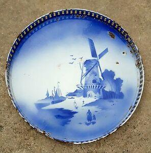 Vintage Old Round Jali Cut Tin Plate/Tray Rare Coast View Porcelain Enamel