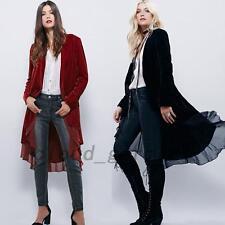 Damen Mantel Samt Chiffon Frühling Jacke Unregelmäßiger Damenmantel Umhang Mode