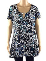 NEW MARINA KANEVA BLUE GREEN BLACK WHITE FLORAL PLUS SIZE TOP 16 18 20 22 24