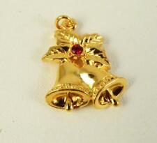 Vintage Avon Tender Memories Bells Goldtone & Red Rhinestone Charm