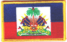 HAITI FLAG w/GOLD BORDER/Iron On Embroidered Applique Patch /Flag of Haiti
