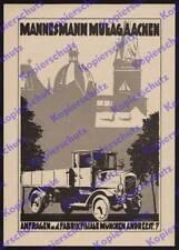 Or. Advertising Rolf Winkler Mannesmann mulag Lorry Truck Car Aachen Munich 1925