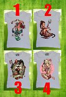 Disney All Princess Women T-shirt Sexy Tattoo Ariel Joker Warrior Bad Girls Girl