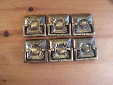 Set of SIX Midcentury Drawer Handles Brass Finish Architectural Design Element