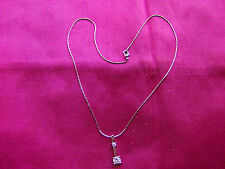Silver Coloured Shiny Pendant Necklace, Square Diamante Stones, Bar, UK Seller