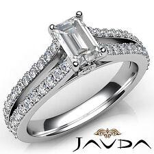 Split Shank Set Emerald Diamond Engagement Ring GIA E VVS2 18k White Gold 1.36Ct