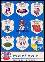 1963 AFL Team Logo's Picture Color Pic 8 X 10  Photo Picture