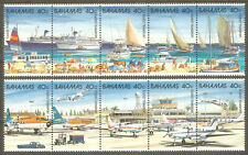 BAHAMAS Sc# 634 - 635 MNH FVF Set-2xStrip Ship Sail Boat Harbor Airplane Airport