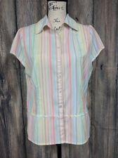 Milano Women's Blouse Size M Cream Pastel Mulit-color Stripes Short Sleeve
