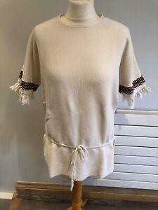 Tory Burch Ladies Beige Long Cotton Top Blouse Size Medium