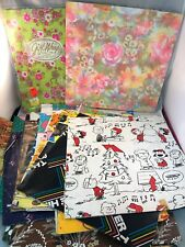 Vintage Lot Wrapping Paper All Occasion Gift Wrap Snoopy Floral Micky Kittens