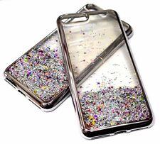 For iPhone 7 / 8 Silver Trim Glitter Stars Sparkle Liquid Waterfall Skin Case