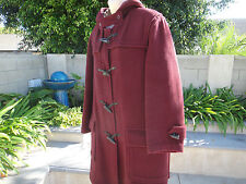 "BURBERRY LONDON Duffle Coat Leather/Horn/Toggle Maroon/Novacheck 48"" Chest"