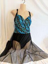 NWT CAROL WIOR Sz 12,  3-Way Sarong One Piece Swim Suit Blue Swimsuit Skirt