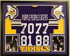 FRAMED MINNESOTA VIKINGS PURPLE PEOPLE EATERS SIGNED JERSEY BAS COA ELLER PAGE