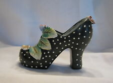Vintage Royal Ceramic Black High Heel Shoe With White Dots And Flowers Figurine