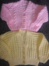 Baby Girls 2 brand new hand knit cardigans pink/yellow 0-3 Months
