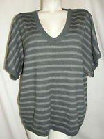 Ann Taylor LOFT Top Women's Size XL Gray Silver Stripe Acrylic Blend Knit Tunic